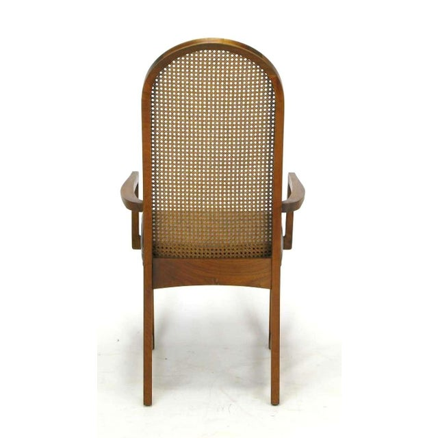 Four Milo Baughman Walnut & Cane Arch-Back Dining Chairs - Image 6 of 9