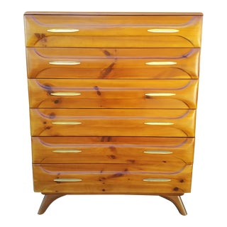 1950s Mid Century Modern Franklin Shockey Sculpted Pine Dresser For Sale