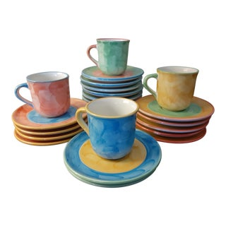 Villeroy and Boch Design Studio Hand Painted Espresso/ Demitasse Cups and Saucer Set - 9 Sets, 18 Pieces For Sale