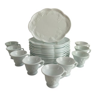 Mid-Century White Milk Glass Snack Serving Set - Set of 16 For Sale