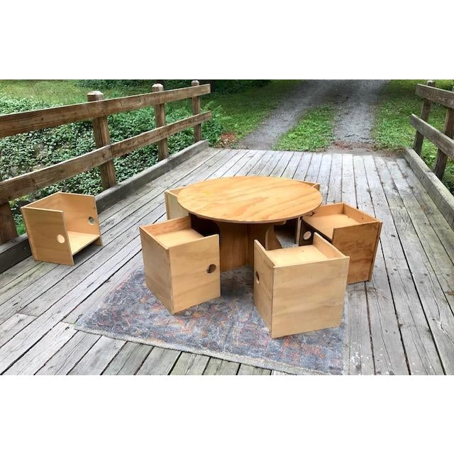 Wood Studio Craft Modern Children's Table & Six Box Chairs - 7 Pieces For Sale - Image 7 of 11