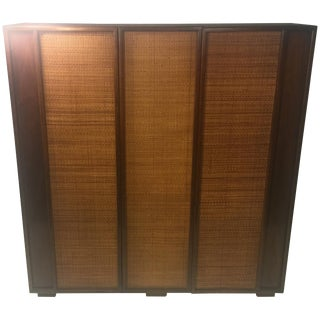 Midcentury Wood and Cane Cabinet by Heritage For Sale
