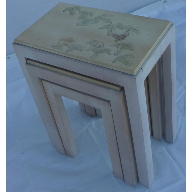 Silver Floral Tile Topped Nesting Tables - Set of 3 For Sale - Image 8 of 11