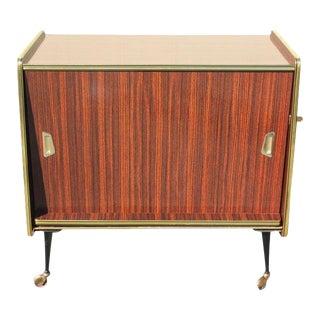 1940s Vintage Macassar French Art Deco Swivel Bar Cabinet For Sale