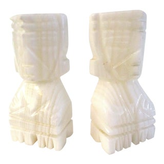 1970s Vintage White Onyx Mayan Bookends - a Pair