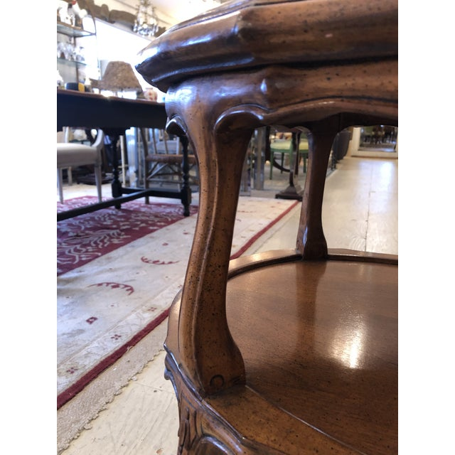 French Provincial Style Marble Inset Two-Tier Fruitwood Oval Side Table For Sale - Image 9 of 13