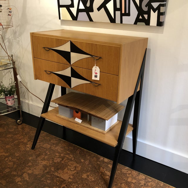 Imported from Poland and hand painted mid century design.