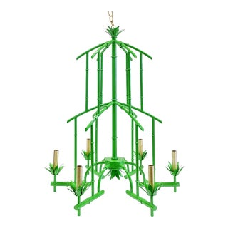 Italian Leaf Green Faux Bamboo Chandelier For Sale