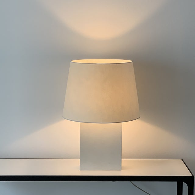 Large 'Bloc' parchment table lamp by Design Frères. Attractive European style shade mount with no apparent harp / final....