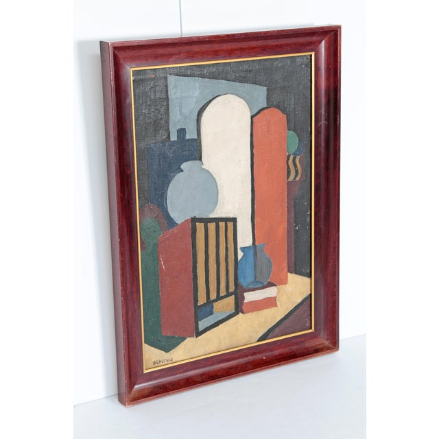 Abstract 20th Century American Abstract Still Life by Flora Scofield, Oil on Canvas For Sale - Image 3 of 12