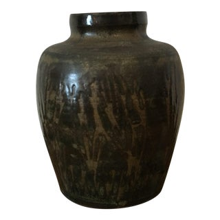 1950s Organic Modern Rod Maxwell Muir Black Green Brown Studio Art Pottery Vase