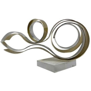 Mixed Metal Ribbon Sculpture by Dan Murphy For Sale