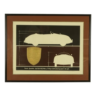 1980s Porsche Speedster Embossed Serigraph Print For Sale