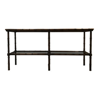 20th Century Boho Chic Solid Oak and Smoked Glass Console Table For Sale