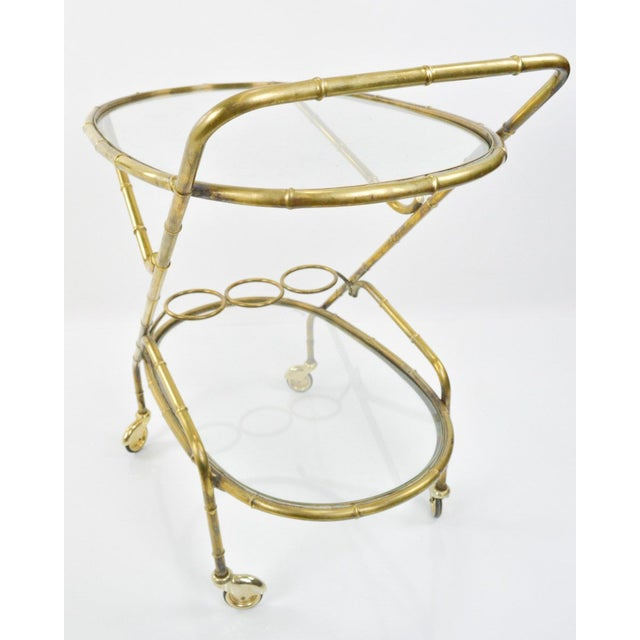 Vintage French Brass Bamboo Style Bar Cart - Image 6 of 6