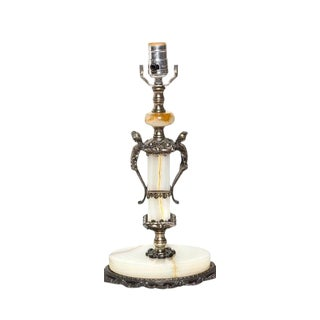 Neoclassical White Onyx Table Lamp For Sale