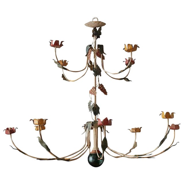 Rustic French Iron Twelve-Light Candle Chandelier For Sale