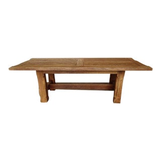 1970s French Country Live Edge Oak Dining Table For Sale