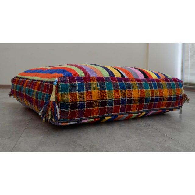 Turkish Hand Woven Kilim Floor Cushion - 30″ X 30″ - Image 4 of 10