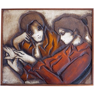 Jean-Claude Gaugy Bas-Relief Wall Sculpture - Two Persons in Conversation For Sale