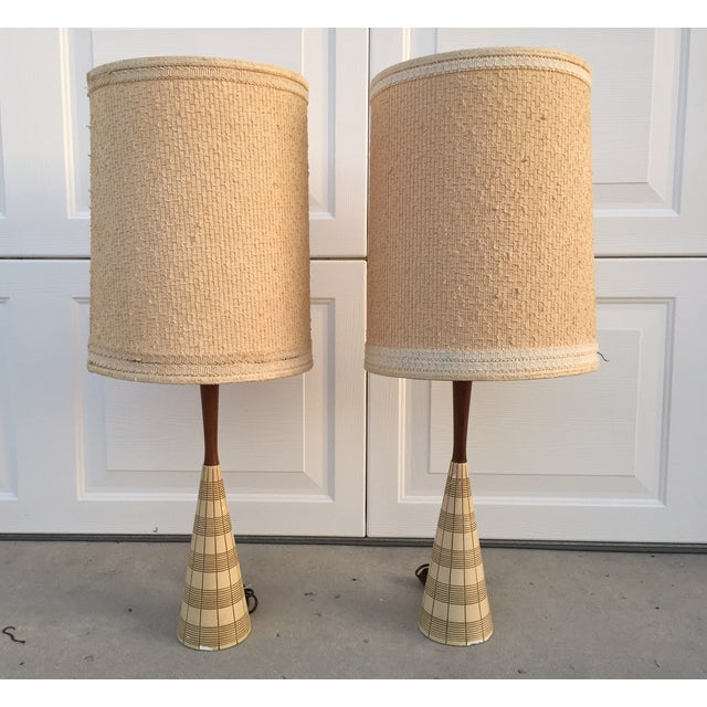Mid-Century Ceramic & Walnut Lamps - Pair For Sale - Image 10 of 10