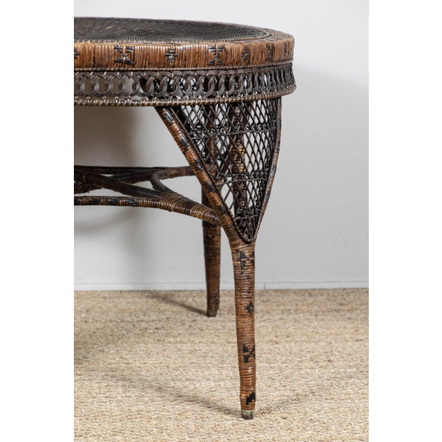 Late 19th Century Victorian Wicker Round Side Table For Sale - Image 5 of 11