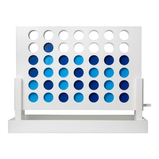 White Acrylic 4 in Row Set with Light Blue and Dark Blue pieces