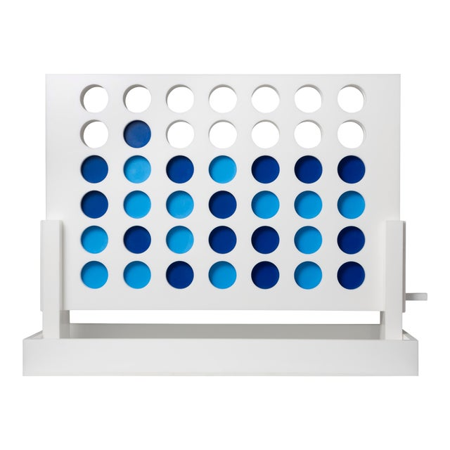 White Acrylic 4 in Row Set with Light Blue and Dark Blue pieces For Sale