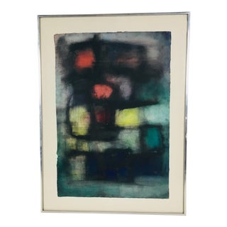Mid-Century Framed Watercolor Painting For Sale
