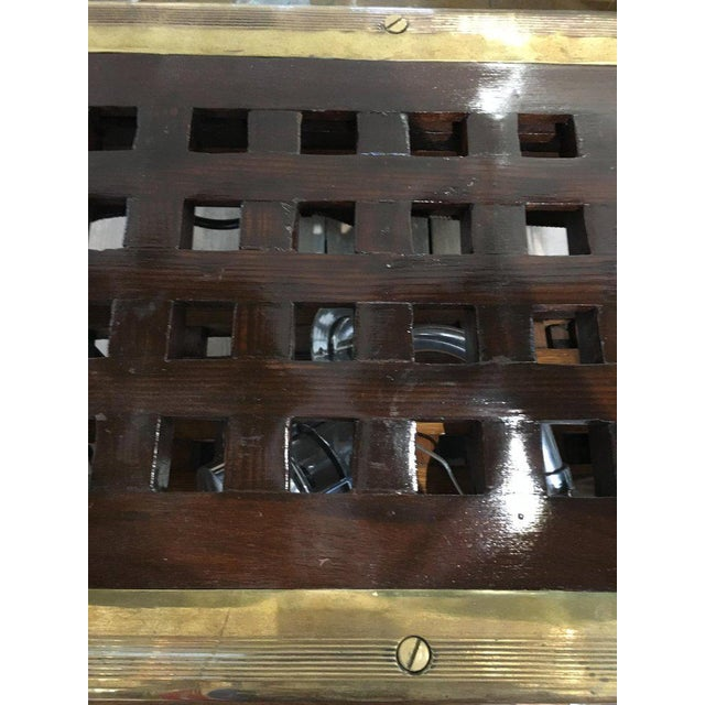 Mid 20th Century Ship's Teak Decking Converted to Console Table With Brass Border For Sale - Image 5 of 10