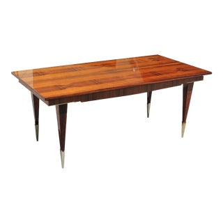 Long French Art Deco Light Exotic Macassar Ebony Dining Table or Writing Desks Circa 1940s