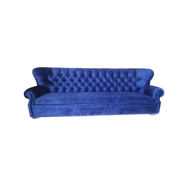 Restoration Hardware Churchill Blue Velvet Sofa - Image 1 of 7