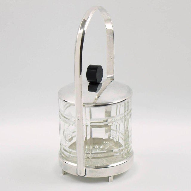 French Art Deco Silver Plate Preserve or Pickles Jar with Etched Crystal Insert - Image 7 of 8