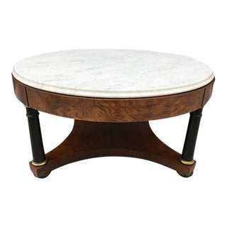 Marble-Top Coffee Table by Baker with Black Lacquered Columns For Sale