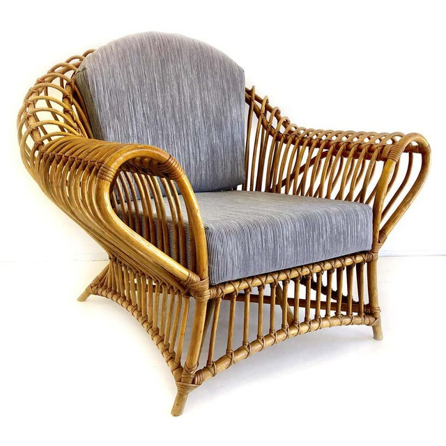 Franco Albini Rattan Chair and Ottoman Set, 1980s For Sale In Miami - Image 6 of 8