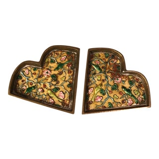Chinese Brass Cloisonné Trinket Dishes - a Pair