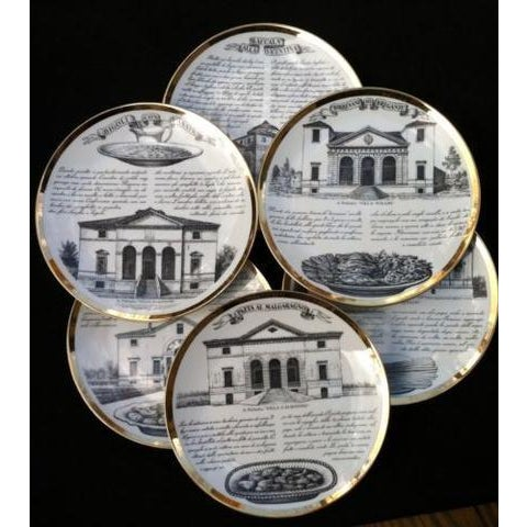 Ceramic Fornasetti Set of six Vintage Plates For Sale - Image 7 of 7