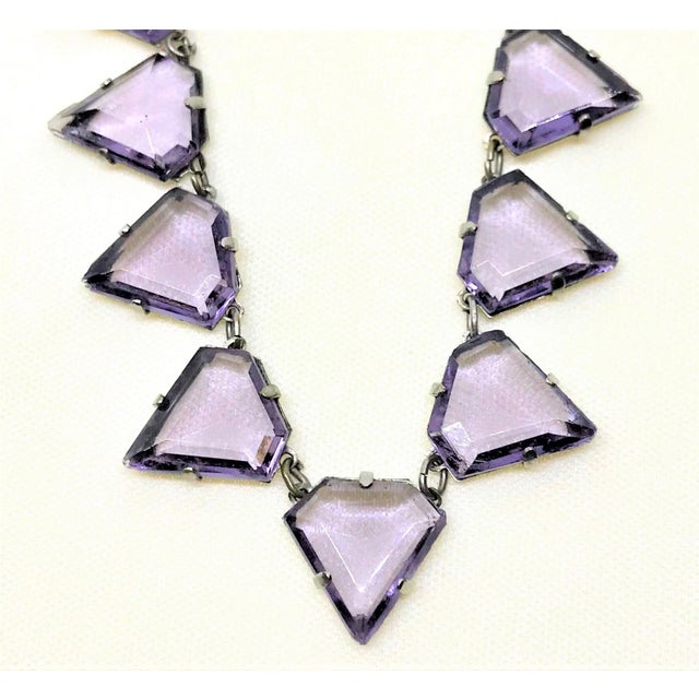 Art Deco Triangular Faceted Purple Glass Necklace For Sale - Image 4 of 6