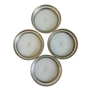 Silver & Crystal Coasters - Set of 4 For Sale