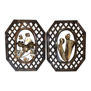 Vintage Enesco Metal Wall Art, Flowers & Lattice - a Pair