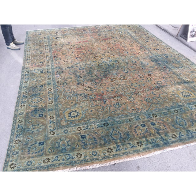 Persian Tribal Overize Handwoven Beige Floor Rug - 9′6″ × 12′5″ For Sale - Image 10 of 11