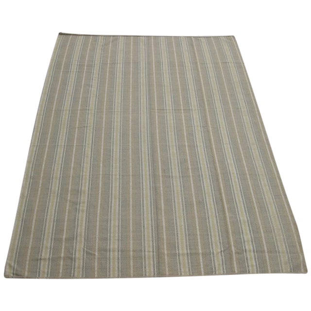 Flat Weave Striped Indian Rug - 10' X 14' - Image 1 of 3