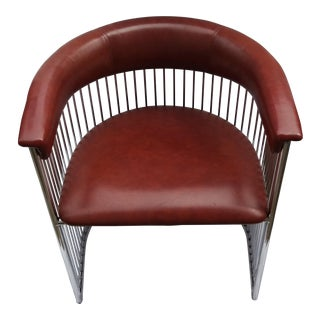 1970s Vintage Brown Naugahyde Club Tub Barrel Chair For Sale