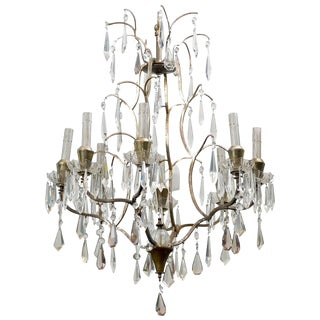 Swedish Mid-Century Eight-Light Crystal Chandelier For Sale