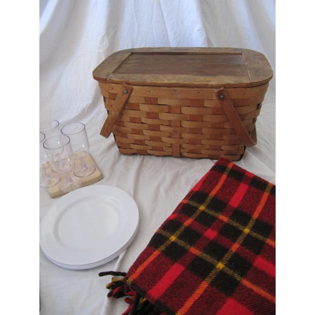 Vintage Picnic Basket Set With Wool Plaid Blanket For Sale - Image 6 of 9