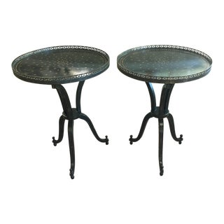 Black & Gold Painted Tripod Side Tables - a Pair For Sale