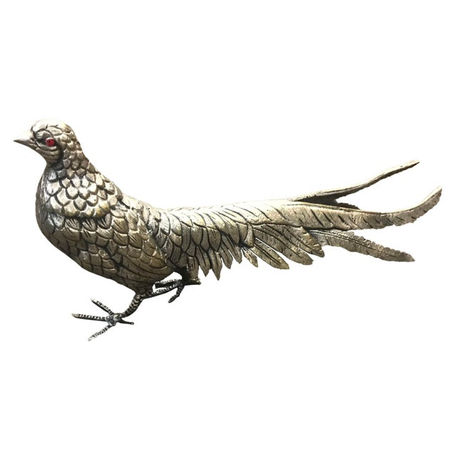 Late 20th Century Late 20th Century Silver Plate Over Brass Pheasants - a Pair For Sale - Image 5 of 6