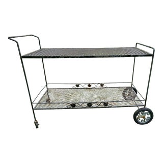 20th Century Russell Woodard Wrought Iron Bar Serving Cart For Sale