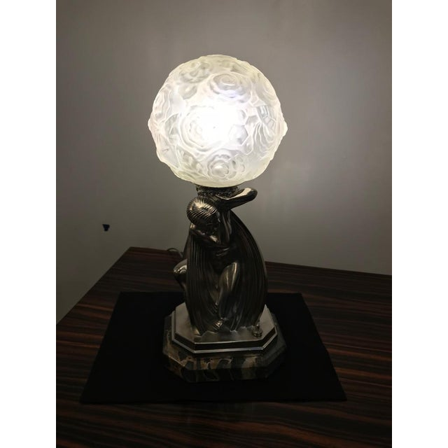 French Art Deco Bronze Female Table Lamp Signed by Sabino For Sale - Image 9 of 11