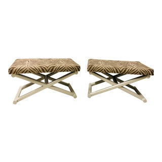 Pair of X- Benches /Ottomans For Sale